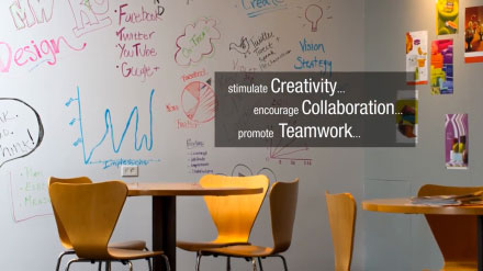 """YouTube video thumbnail with text, """"stimulate Creativity... encourage Collaboration... promote Teamwork..."""""""