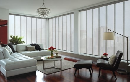 Living room with vertical blinds obscuring skyline view