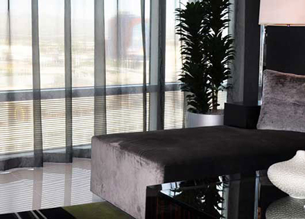 Modern office scenic window view with sheer linen drapes