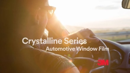 "YouTube video thumbnail with text, ""Crystalline Series Automotive Window Film 3M"""
