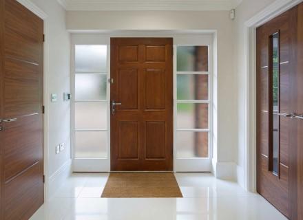 Doorway interior view of blurred window tint
