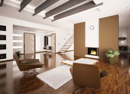Modern living room with wood-grain film