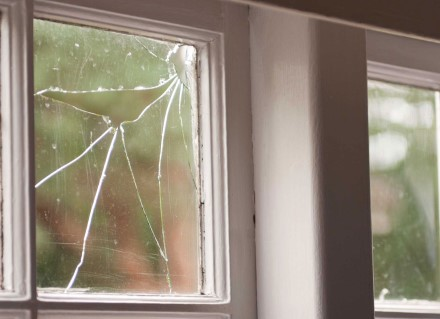 Corner of shattered window pane