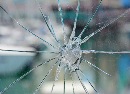 Close up of impact-shattered glass