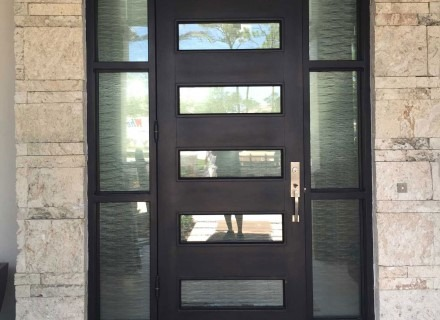 Decorative Film on Glass Door to Illustrate Rockledge and Viera Options for Privacy Film and Style